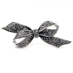 ZARD Ribbon Bow Marquise Crystal Pin Brooch in Vintage Silve