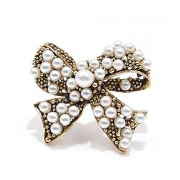 ZARD Ribbon Bow White Pearl Pin Brooch in Vintage Gold Tone