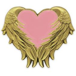 PinMart's Pink Heart with Angel Wings Breast Cancer Awarenes