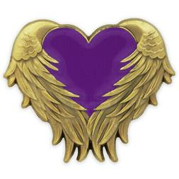 PinMart's Purple Heart with Angel Wings Domestic Violence Aw