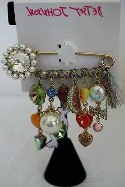 Betsey Johnson Safety Pin with heart, smiley face, pearls, b