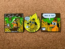 SET OF 3 This Is Fine Dog Enamel Pins 2020 Same Day Shipping