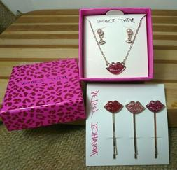 Betsey Johnson Set Pink Lips Necklace & Pearl Earrings Rose