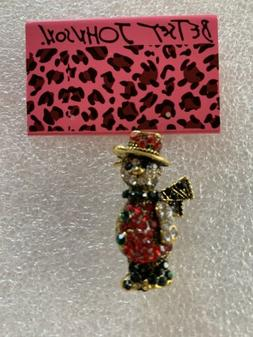 Betsey Johnson Snowman WITH TOP HAT Crystal Enamel Brooch Pi