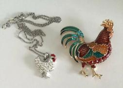 Napier Sterling Silver Rooster Chicken 2pcs Package Neckalce