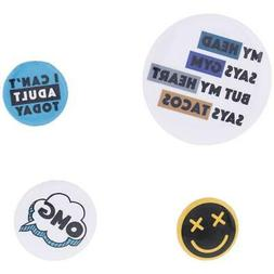 Twig & Arrow Womens Blue Graphic Novelty Button Pin Set Hand
