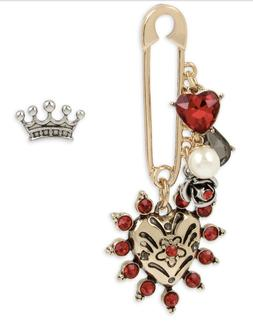 Betsey Johnson Two-Tone Crystal Imitaion Pearl Safety Pin He
