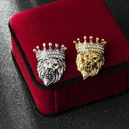 Vintage Animal Lion Head Brooch Crystal Crown Lapel Pin for