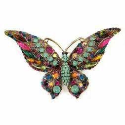 Vintage Crystal Butterfly Brooch Teal Green Accent Color Win