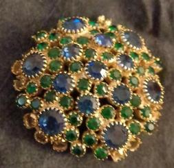 Vintage Metal Pin Front - Glass Stones - GREAT FOR CRAFTS/JE