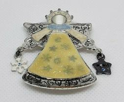 Women's Angel Brooch Pin Dangles Textured Yellow Silver Tone