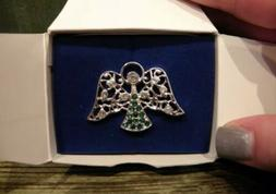 Avon Women's Angel Pin with Green Stones Silver
